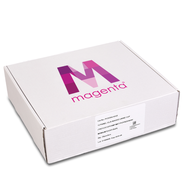 12 Panel CLIA Waived Magenta tapered drug test cup box