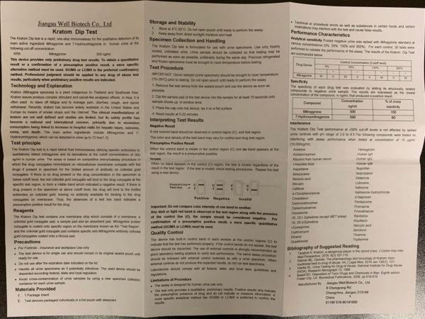 Kratom Drug Test Dip Card instructions